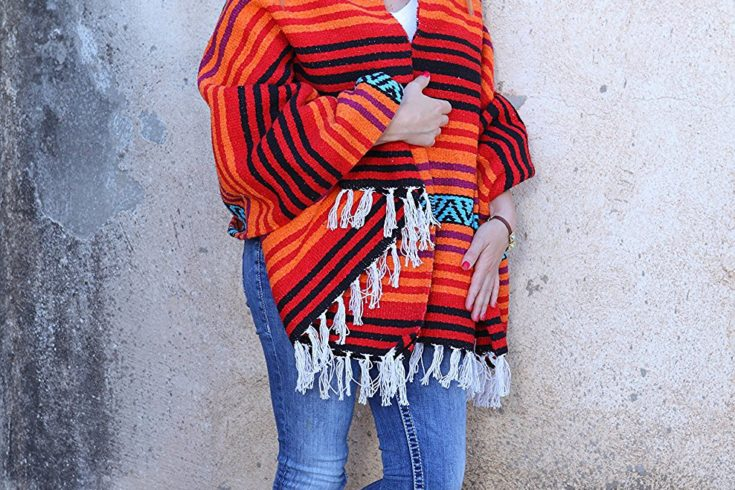 Classic Mexican El Paso Hippie Blanket With Falsa Stripe Pattern