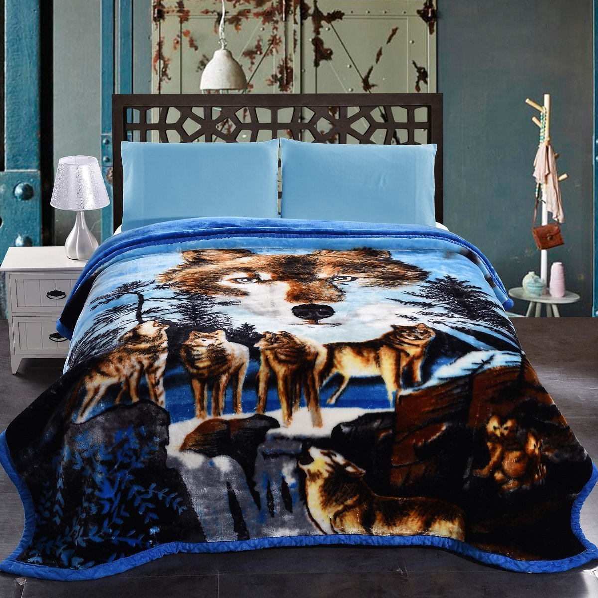 Blue Wolf Mink Blanket - King Size Heavy Korean Style JML Plush Blankets With 2 Ply Printed